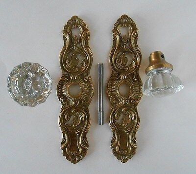 Vintage Solid Brass Back Plate & Crystal Door Knob Set Made in Portugal Antiqued