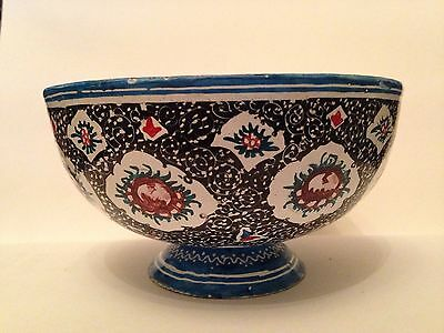 Vintage Islamic Middle Eastern Copper Enamel Miniature Painted Bowl