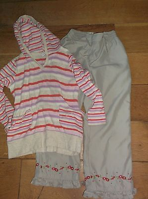 Next girl's fleece striped top with H&M trousers 6 years