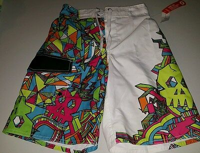 NWT Boys Old Navy Swim Board Shorts Size 8 M White Green Blue