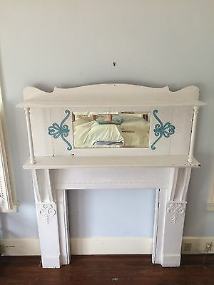 Victorian White Shabby Chic Full Fireplace Mantle Surround With Beveled Mirror
