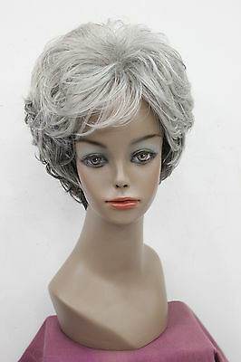 Fashionable, women healthy Gray white mixed  short curly wig + Free wig cap