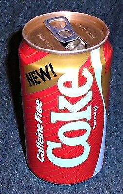 """Cool 1980's NEW Coke Caffeine Free """"Gold Band"""", Coca Cola, Vintage Soda Can"""