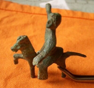 A356. Romano/Celtic bronze horse and rider composition.