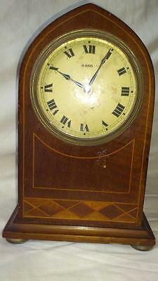 Edwardian inlaid Mahogany eight day mantel clock