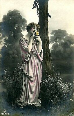 Vintage French Tinted Photo Postcard Woman in Robe - Classical