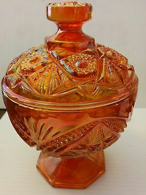 Carnival Glass Compote with Lid ~ Imperial Glass Eastern Star