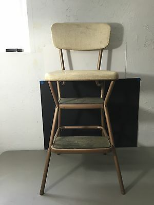 Vintage Cosco Step Ladder Stool with Flip Up Seat Copper & Oatmeal Colored