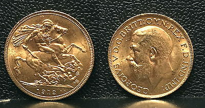 1912-ENGLISH GOLD King GEORGE 5th  SOVEREIGN-BU SELECT--AUTHENTIC DATE PRE WW-I