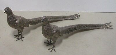 Pair Vintage Silverplate Table Decoration Pheasants Weidlich Brothers 2276
