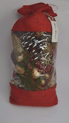 POTTERY BARN SCENTED SNOW CURRANT POTPOURRI 16oz Bag RED GOLD WHITE