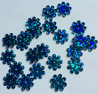 SEQUINS - Blue Coloured Flower Shaped / Size 12-14mm QTY Approx 100.