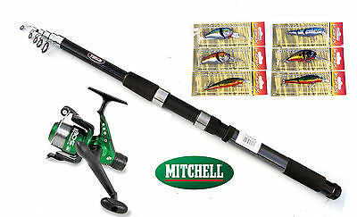 Mitchell Catch 6ft Tele Spin Rod 4-15g & Sol Reel combo with 6 Lure/plugs