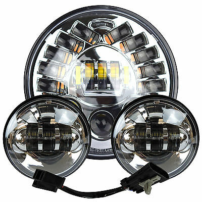 """7"""" Chrome LED Projector Daymaker Headlight + Passing Lights For Harley Touring 2"""