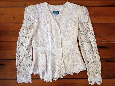 """Vintage 80s Victorian Style Lace Puff Sleeve Secretary Shirt Blouse Top 35"""" S"""