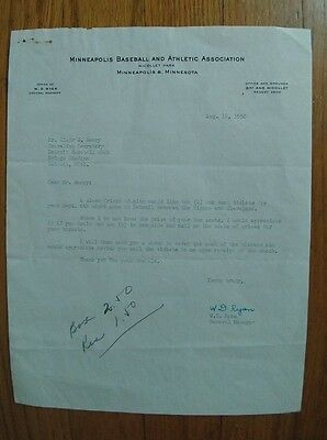 Vintage Letter/Letterhead Minneapolis Millers August16,1950 Signed by WD Ryan GM