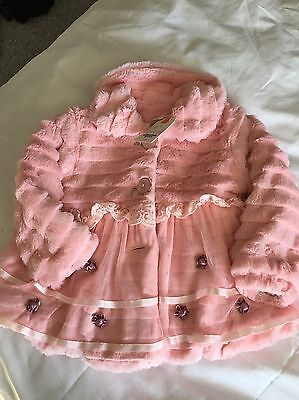 girls coat Age 2-3 Pink Fake Fur With Rose Buds.i Have Two of These