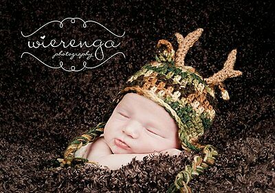 Camo Antler Hat (1 to 3 months) - Great for Photo Props
