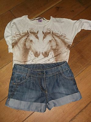 Next girl's denim shorts and F&F horse long sleeved top. 7 years