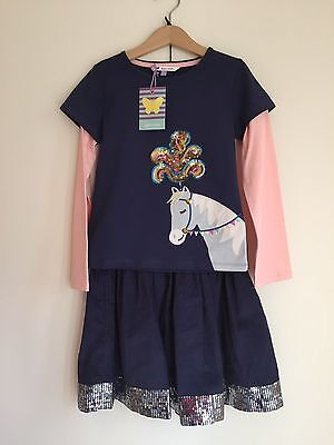 John Lewis, Horse, Top/Skirt set, Navy Sequins, Party Smart 8 years Girl