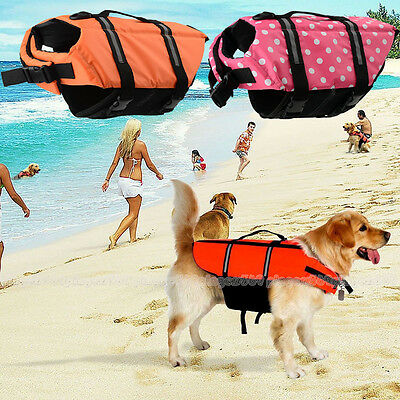 Dog Life Jacket Swimming Float Vest Reflective Adjustable Swimwear Aid S/M/L UK