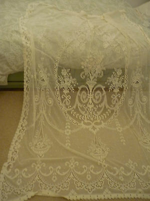 Vintage Lace Net Curtain Fabric Ivory