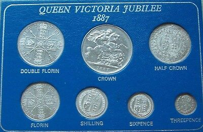 1887 QUEEN VICTORIA JUBILEE set of 7 SOLID SILVER COINS IN A CLEAR CASE   L@@K!