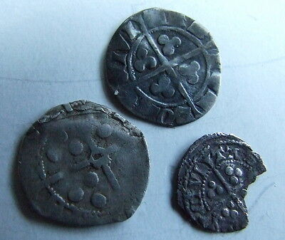 3 x HAMMERED LONG CROSS COINS  inc DURHAM mint (Detector Finds)