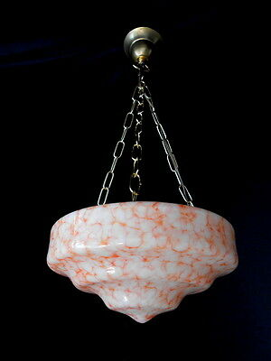 Beautiful & Rare 1930s Art Deco Glass Chandelier Germany White + Orange