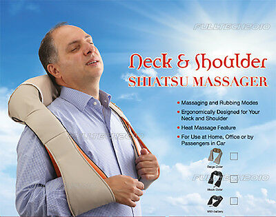 Electric Shiatsu Kneading Neck Shoulder Body Massager With Heat