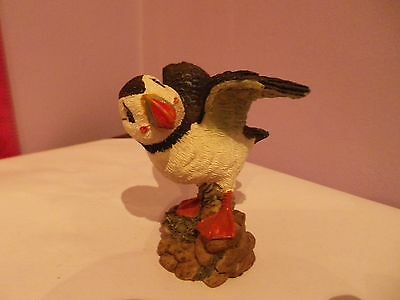 Lovely Puffin Bird Figure Opening Wings Made Of Mixed Materials 7 Cms Tall