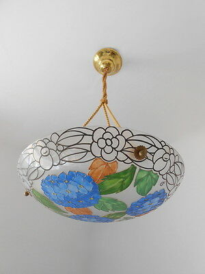 Wonderful French Art Deco Enameled Glass Chandelier Loys Lucha 1920s