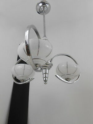 Stunning Art Deco Bauhaus Chromed Chandelier Ceiling Light From France 1930s