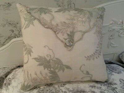 Art Nouveau Style Silk Embroidered Cushion Hand Crafted