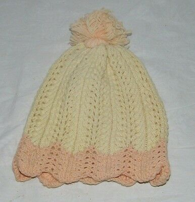 Vintage Hand Knitted Pink Ivory Girls Winter Hat Pompom Pom Child 19572 Cream