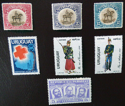 Uruguay - x6 mint stamps + one from Paraguay