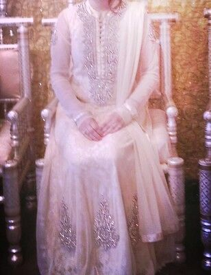 Ladies Asian Indian Pakistani Wedding Long Dress Anarkali Nude Beige