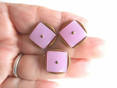 Antique/vintage 3 Matching Dyed Pearl And Metal Buttons #399
