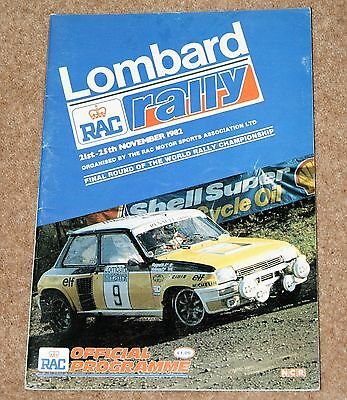 Official Lombard RAC Rally Programme 1982  World Rally