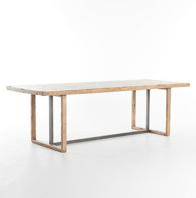 """96"""" Belgium Reclaimed Wood Iron Reclaimed Wood Dining Table"""