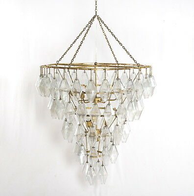 "39"" Adelles deluxe Gold Leaf Iridescent Glass Table Iron Glass Chandelier"