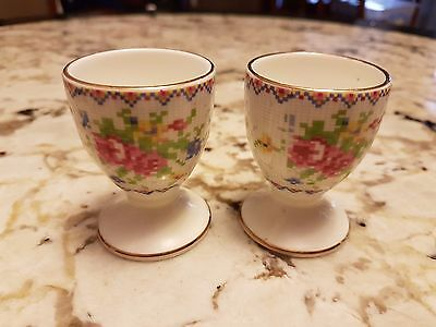 """Two Royal Albert Egg Cup / Holders """"petite Point"""" Bone China England"""