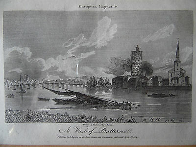 1804 A View of Battersea, Antique Engraving by S.Rawle