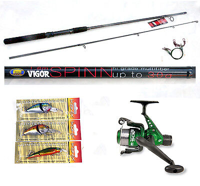 Vigor 6ft Spin Rod 4-15g & Sol Reel combo with 3 Lure/plugs pike / zander/perch