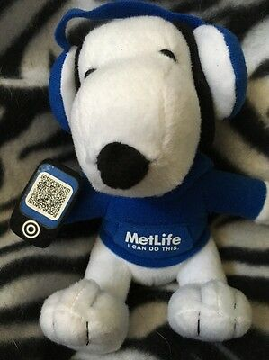 Snoopy Metlife plush with snoopy in a I Can Do This Hoodie And Earphones