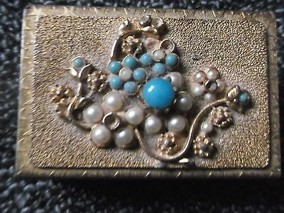 Vintage matchbox holder with turquoise beads and faux pearls.