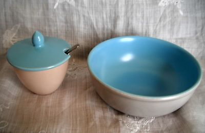 Poole Pottery twin tone ice green & seagull  cereal bowl and Mustard pot