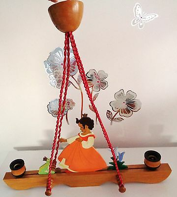 Vintage Wooden Chandelier Ceiling Lamp Girls Room Light Cartoon Character HEIDI
