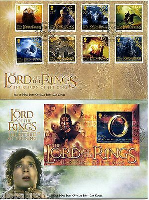2003 LORD OF THE RINGS 8v +M/SHEET ISLE OF MAN PO FDC x2 VGC