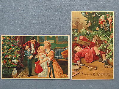 Lot of Two 1908 Christmas Postcards with Rifle Ice Skates Sled Doll Toys Tree